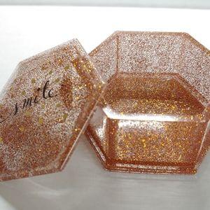 Jewelry Box Hexagon Orange, Silver & Gold Glitter